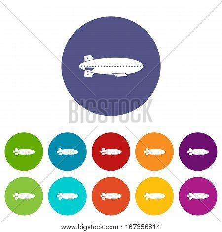 Dirigible balloon set icons in different colors isolated on white background