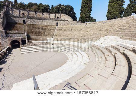 Roman apmhitheater - Pompei ruins. Pompei Campania Italy.