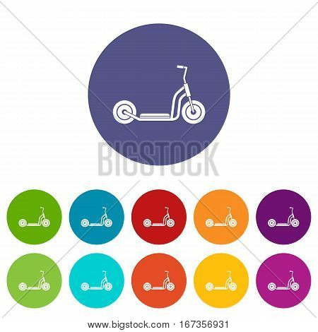 Kick scooter set icons in different colors isolated on white background