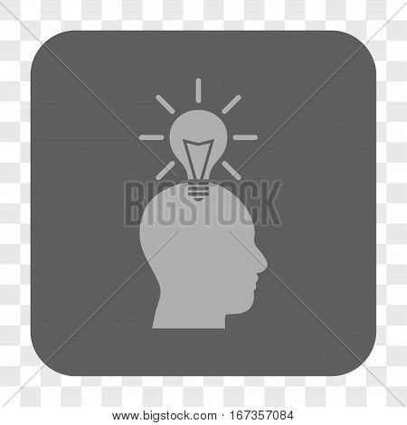 Genius Bulb interface toolbar button. Vector icon style is a flat symbol on a rounded square button light gray and gray colors chess transparent background.