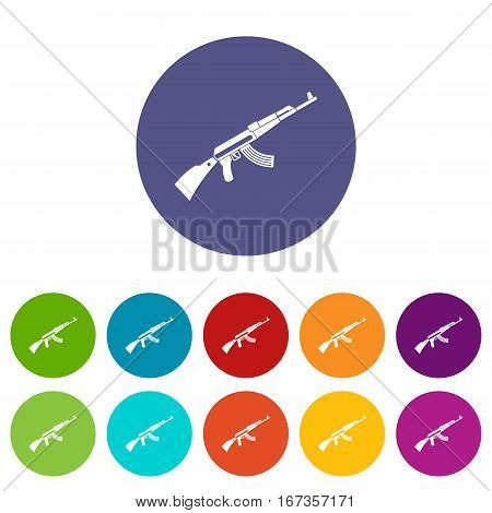 Kalashnikov machine set icons in different colors isolated on white background