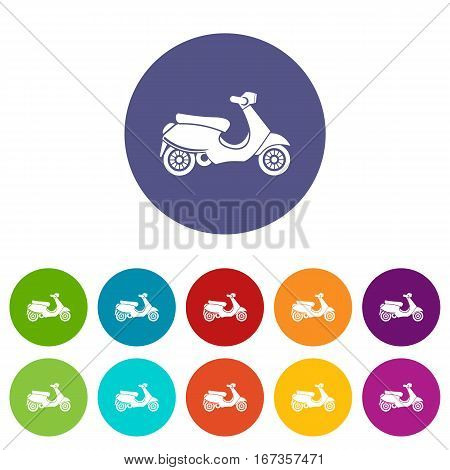 Vespa scooter set icons in different colors isolated on white background