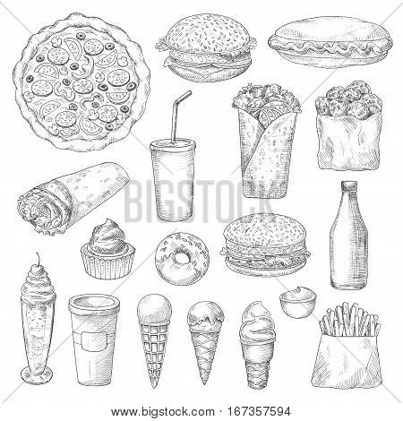 American junk or fast food sketch. Ice cream in cone waffle, pizza and hamburger or cheeseburger, pizza and french fries or fried potato, donut or doughnut, sauce or ketchup, cupcake, soda with straw. Restaurant and nutrition theme