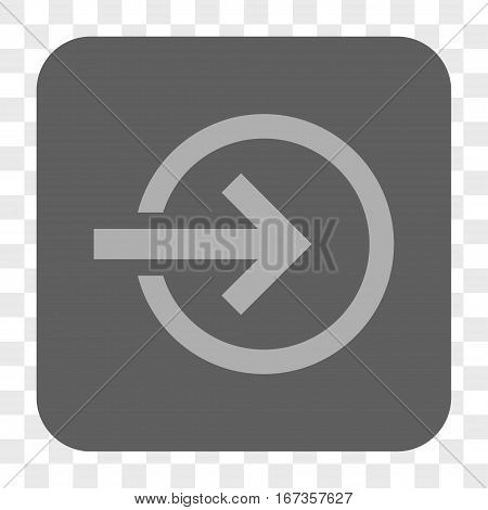 Import interface toolbar button. Vector icon style is a flat symbol in a rounded square button light gray and gray colors chess transparent background.