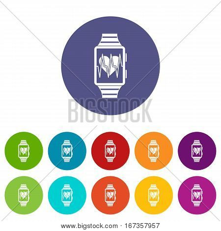 Smartwatch with sport app set icons in different colors isolated on white background