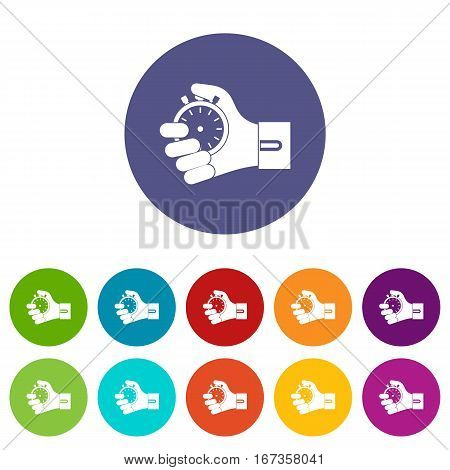 Hand holding stopwatch set icons in different colors isolated on white background