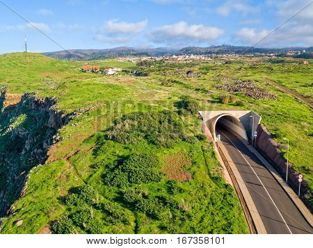 Rural Countryside With Tunnel Road Madeira Island