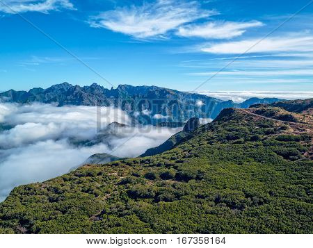 Fantastic Landscape Rocky Mountains With Clouds Madeira Island