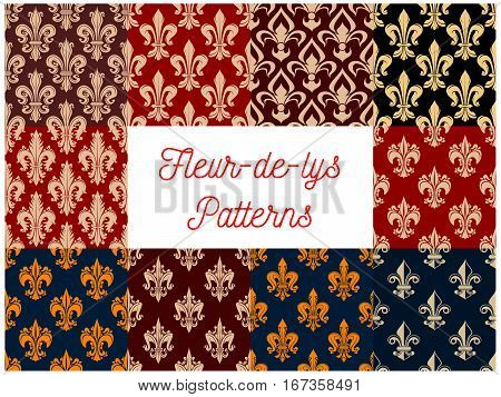 Tracery of floral french fleur-de-lis or fleur-de-lys seamless pattern background set. Medieval heraldic ornaments tile or vintage royal motif design. Victorian monarchy or baroque theme, fabric or wrapper embellishment poster