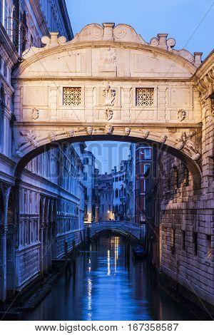 Bridge of Sighs in Venice. Venice Veneto Italy.