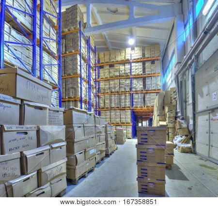 St. Petersburg Russia - December 3 2013: Secure document storage facility record storage archives.