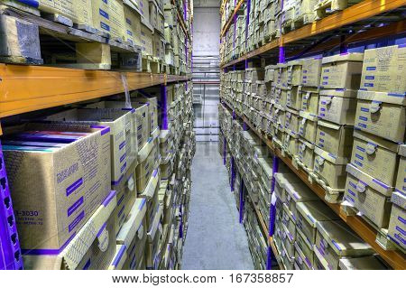 St. Petersburg Russia - December 3 2013: Boxes of stored records in warehouse secure document storage facility.