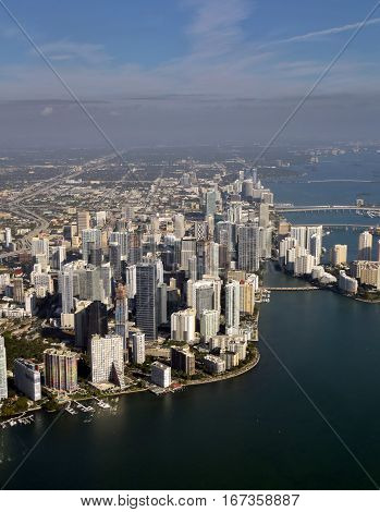 Aerial view of downtown in Miami Florida