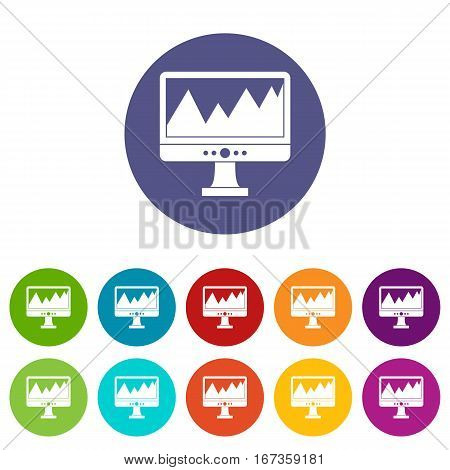 Monitor and a chart set icons in different colors isolated on white background