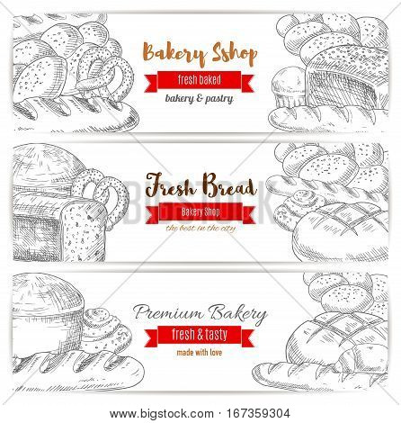 Bread and kringle, pastry and bakery sketch banner. Loaf of cereal rye sliced anadama and kringle or kifli, french baguette or baton. Agriculture crop assortment and cook, bakery theme poster