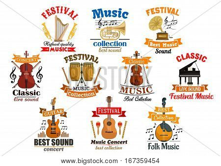 Instruments for music and melody notes with ribbon set of icons. Drum kit and acoustic, electric guitar, gramophone and harp, fiddle with fiddlestick and violoncello or cello, violin with bow, piano and trumpet, flute. Audio and entertainment theme