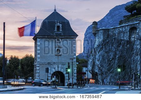 Porte de France in Grenoble at sunset. Grenoble Auvergne-Rhone-Alpes France