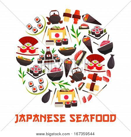 Japan sea and sushi food banner. Shrimp and salmon, tuna and rice rolls, bento with tamago and sashimi, temaki, kaviar or ikura on ebi, roe and nigiri, kettle and cups with tea. Asian and japanese seafood nutrition, gourmet theme