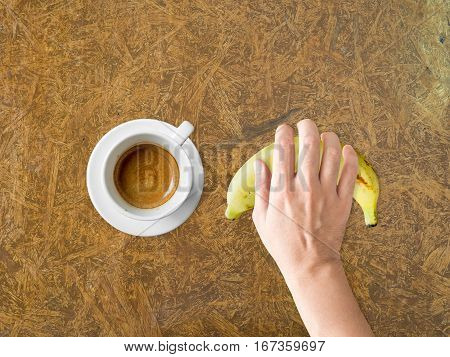 Coffee And Banana Diet Meal.
