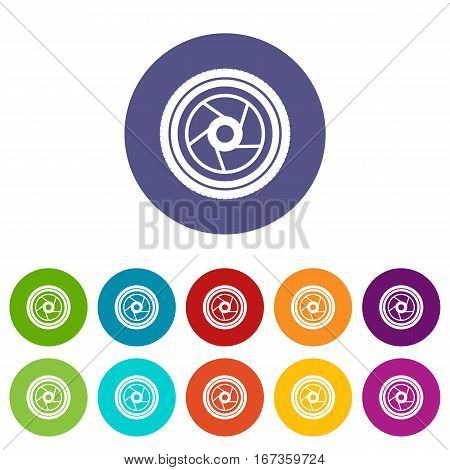 Camera aperture set icons in different colors isolated on white background
