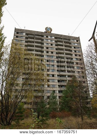 Former Soviet administrative buiding in the ghost town Pripyat within the Chernobyl Exclusion Zone which was established after the nuclear disaster in 1986