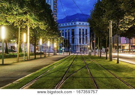 Tram rails in Grenoble. Grenoble Auvergne-Rhone-Alpes France