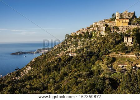 Eze panorama in the morning. Eze Provence-Alpes-Cote d'Azur France.