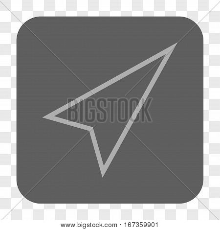 Pointer Right Up interface toolbar button. Vector icon style is a flat symbol on a rounded square button, light gray and gray colors, chess transparent background.