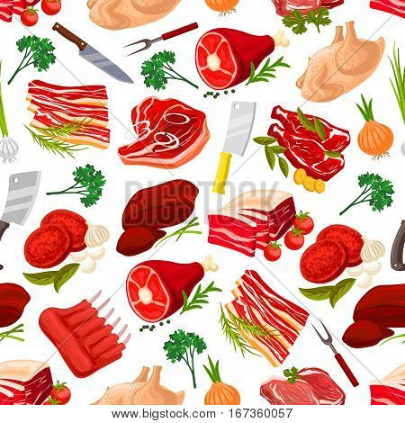 Meat food products seamless pattern background. Beef steak with garlic and pork ham with leaf spices, fat or lard, grease with onion and sirloin, meatloaf and butcher knife or cleaver, fork. Cook and nutrition, food wrapper theme