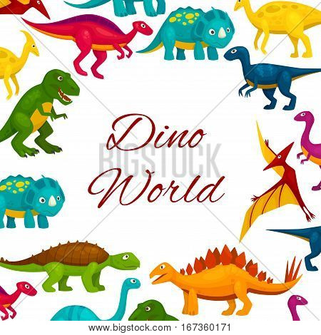Cartoon dinosaur or jurassic monster poster. Comic t-rex or tyrannosaurus rex, brontosaurus and diplodocus, pterodactyl or pterodactyls, theropoda. Museum of prehistoric fossil, extinct animals or lizard, reptile theme