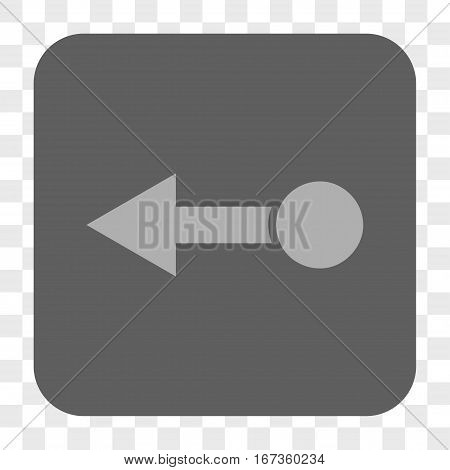 Pull Left interface toolbar button. Vector icon style is a flat symbol on a rounded square button, light gray and gray colors, chess transparent background.