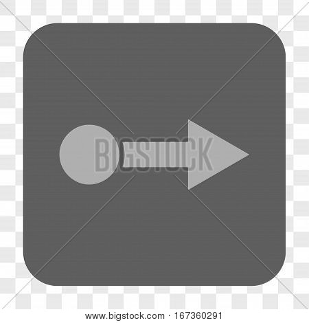 Pull Right interface toolbar button. Vector icon style is a flat symbol on a rounded square button, light gray and gray colors, chess transparent background.