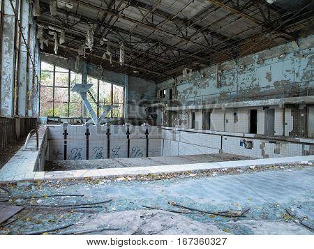 Former swimming pool in Pripyat the ghost town in the Chernobyl Exclusion Zone which was established after the nuclear disaster