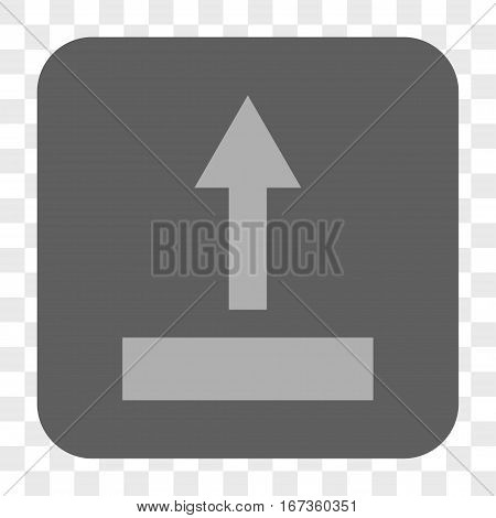 Pull Up interface toolbar button. Vector icon style is a flat symbol in a rounded square button, light gray and gray colors, chess transparent background.