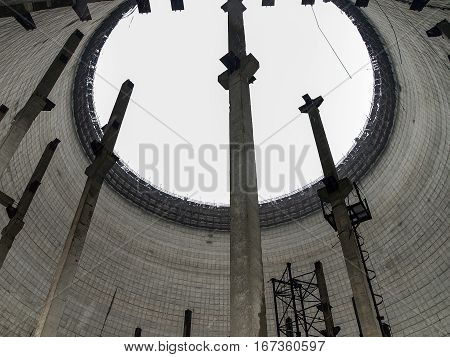 Inside a cooling tower in the ghost town Pripyat in the Chernobyl Exclusion Zone which was established after the nuclear disaster in 1986