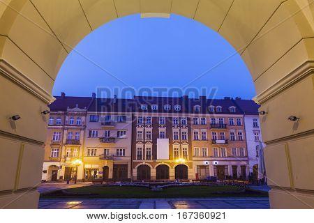 Main Square of Kalisz at night. Kalisz Greater Poland Poland.