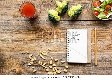 concept diet and slimming plan with vegetables top view mock up