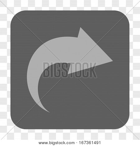 Redo interface toolbar button. Vector icon style is a flat symbol in a rounded square button, light gray and gray colors, chess transparent background.