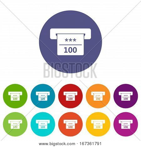 Winning cheque in casino set icons in different colors isolated on white background