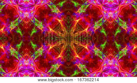 pink and green flower kaleidoscope fractal back ground