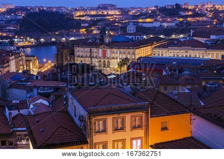 Panorama of Porto at sunrise. Porto Norte Portugal.