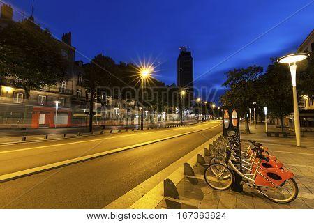 Streets of Nantes at dawn. Nantes Pays de la Loire France.