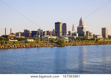 Cleveland skyline seen from Lake Erie. Cleveland Ohio USA.