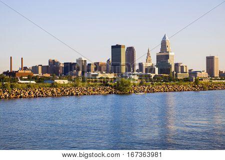 Cleveland skyline seen from Lake Erie. Cleveland Ohio USA.
