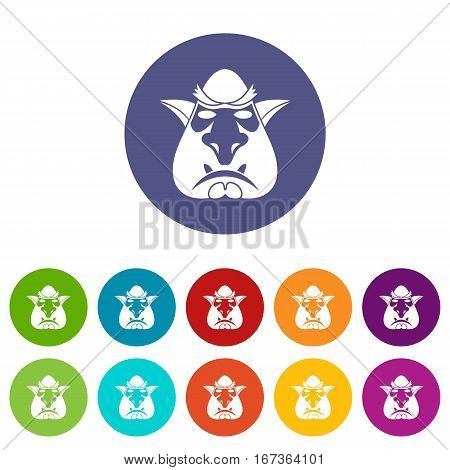 Head of troll set icons in different colors isolated on white background