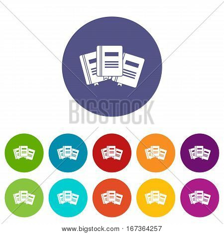 Three books with bookmarks set icons in different colors isolated on white background