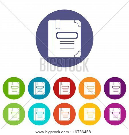 Tutorial with bookmark set icons in different colors isolated on white background