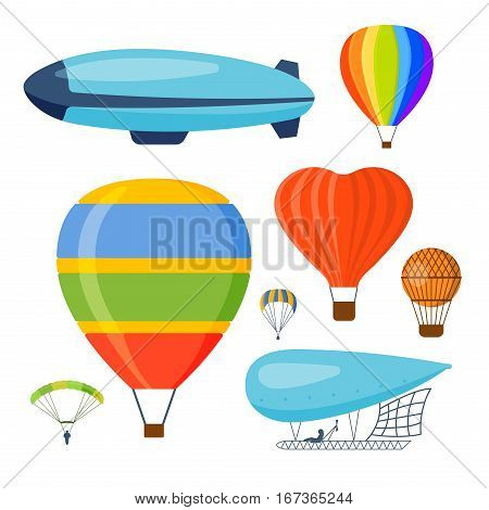 Different aerostats flat icons cartoon graphic. Modern balloon transport sky hot fly adventure journey and old vector air travel transportation flight airship.