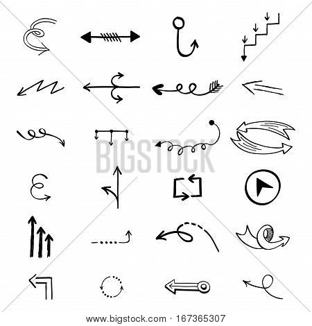 Vector illustration of arrow icons hand drawn sketch. Right orientation navigation direction. Simple application upload circle redo previous design.