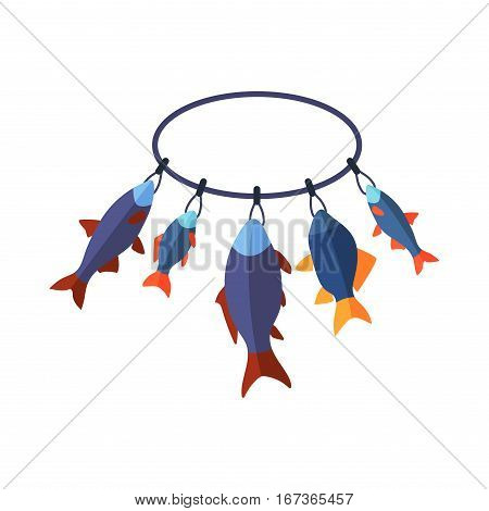 Bait, wobbler and fishing accessories on fishing net background. Vector sport spinning fishhook equipment. Relax and sport leisure catcher tool.